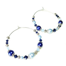 Load image into Gallery viewer, Large Pale Blue & Colbalt Pearl & Crystal Hoop Earrings 50mm