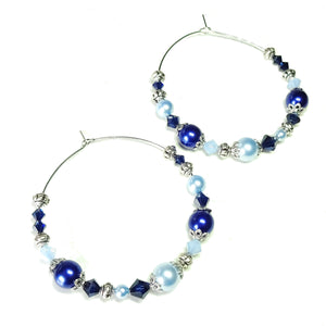 Large Pale Blue & Colbalt Pearl & Crystal Hoop Earrings 50mm