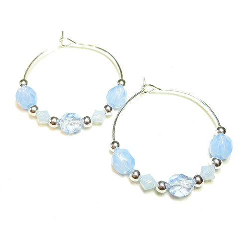 Pastel Blue Crystal Hoop Earrings 30mm