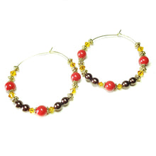 Load image into Gallery viewer, Large Red, Brown & Orange, Pearl & Crystal Antique Gold Hoop Earrings - 50mm