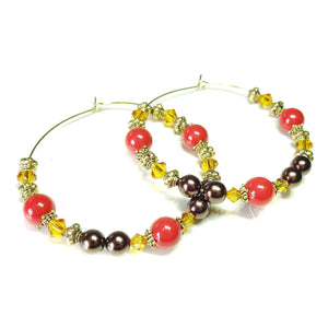 Large Red, Brown & Orange, Pearl & Crystal Antique Gold Hoop Earrings - 50mm