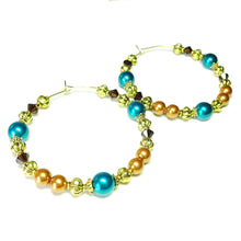 Load image into Gallery viewer, Large Rust, Teal Blue & Brown Pearl & Crystal Antique Gold Hoop Earrings - 50mm