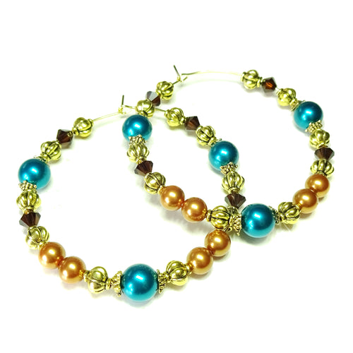Large Rust, Teal Blue & Brown Pearl & Crystal Antique Gold Hoop Earrings - 50mm