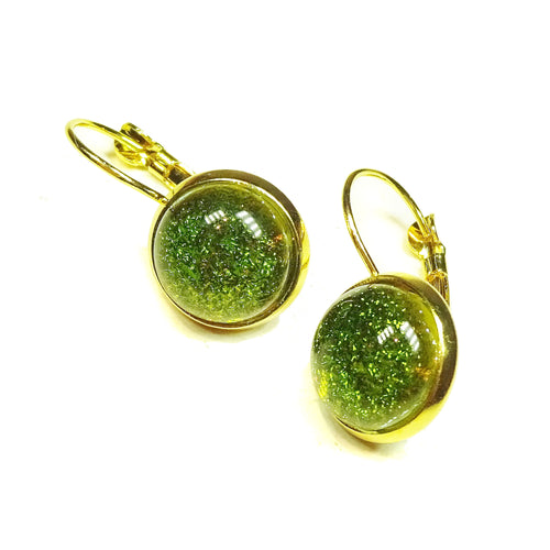 Olive Green Dichroic Glass Gold Plated Lever Back Earrings