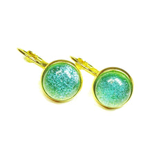 Load image into Gallery viewer, Turquoise Blue Dichroic Glass Gold Plated Lever Back Earrings