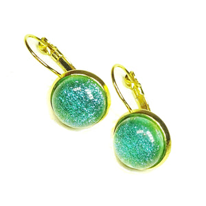 Turquoise Blue Dichroic Glass Gold Plated Lever Back Earrings