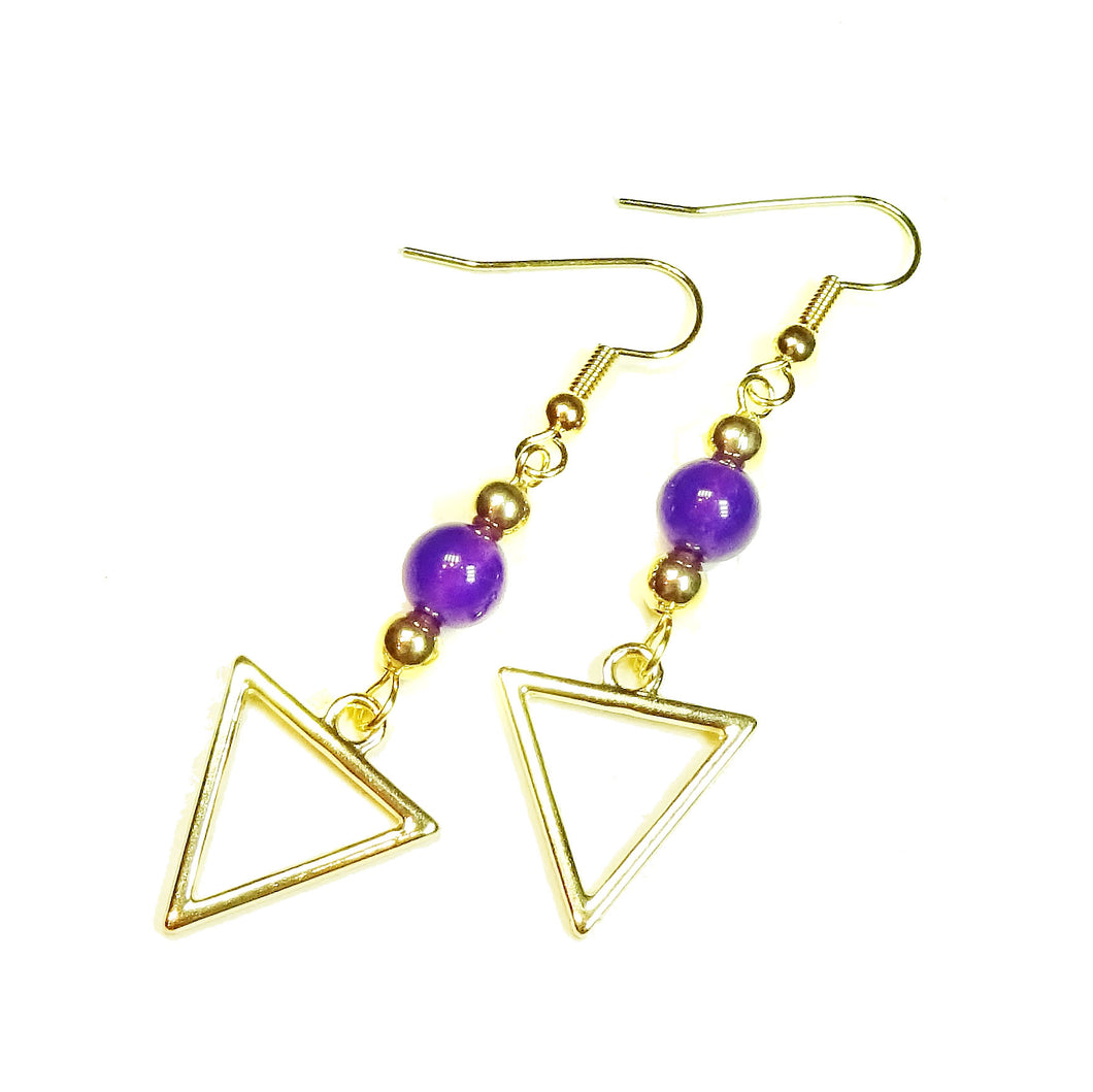 Purple Quartz Gemstone Gold Plated Triangle Drop Earrings