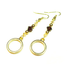 Load image into Gallery viewer, Brown & Pale Peach Crystal Gold Plated Circle Drop Earrings