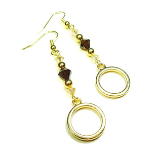 Brown & Pale Peach Crystal Gold Plated Circle Drop Earrings
