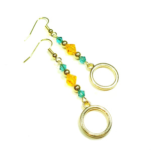 Orange & Teal Blue Crystal Gold Plated Circle Drop Earrings