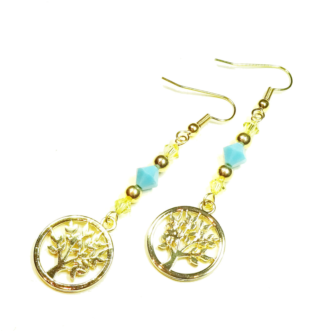 Pale Yellow & Turquoise Blue Crystal Gold Plated Tree of Life Drop Earrings