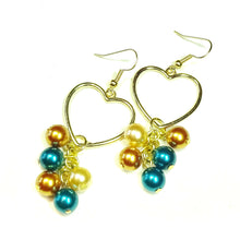 Load image into Gallery viewer, Teal Blue & Golden Pearl Heart Drop Earrings