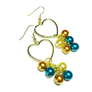 Teal Blue & Golden Pearl Heart Drop Earrings