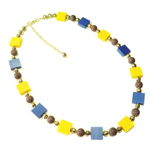 Yellow Ochre & Blue Wood, Brown Lava & Antique Gold Necklace