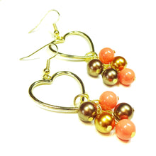 Load image into Gallery viewer, Coral & Bronze Pearl Gold Plated Heart Drop Earrings