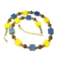 Load image into Gallery viewer, Yellow Ochre & Blue Wood, Brown Lava & Antique Gold Necklace