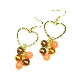 Coral & Bronze Pearl Gold Plated Heart Drop Earrings