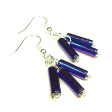 Load image into Gallery viewer, Delicate Metallic Blue Haematite Gemstone Drop Earrings