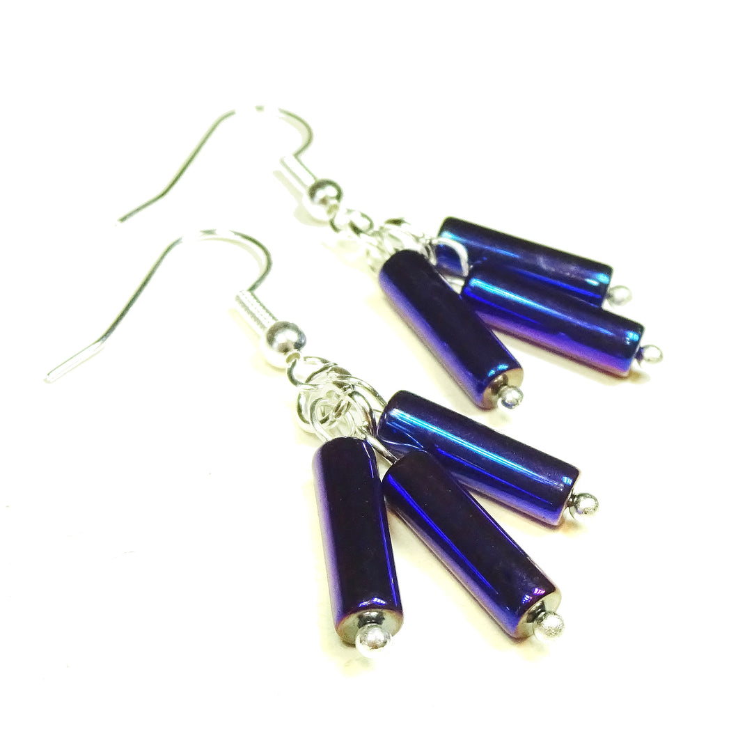 Delicate Metallic Blue Haematite Gemstone Drop Earrings