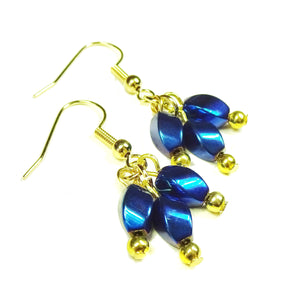 Delicate Metallic Blue Haematite Gemstone & Gold Drop Earrings