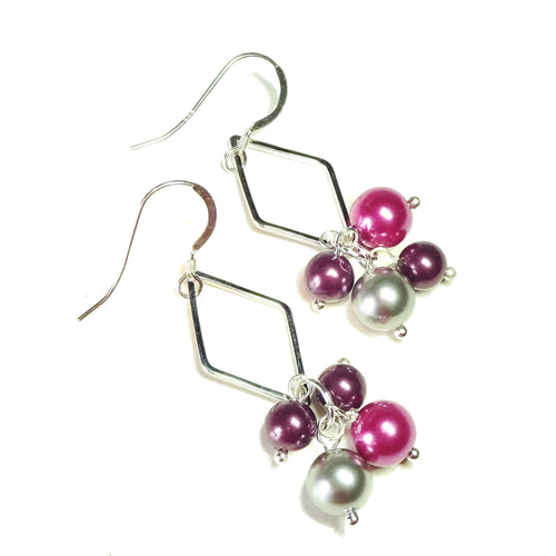 Burgundy & Pink Pearl Rhombus Drop Earrings