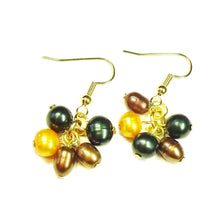 Load image into Gallery viewer, Dark Green, Orange & Brown Freshwater Pearl & Gold Plated Cluster Earrings