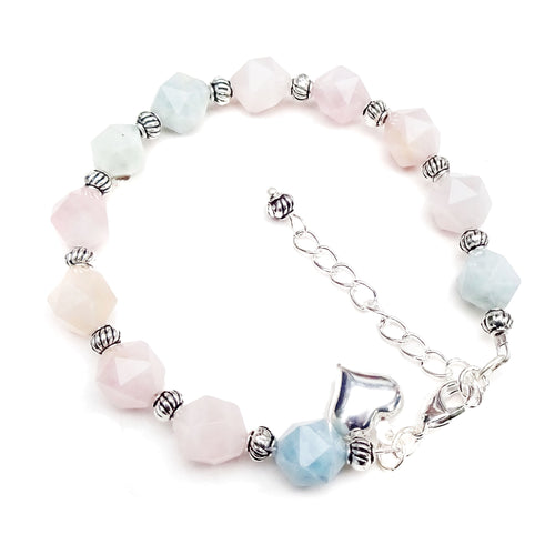 Pink & Blue Morganite Gemstone Bracelet