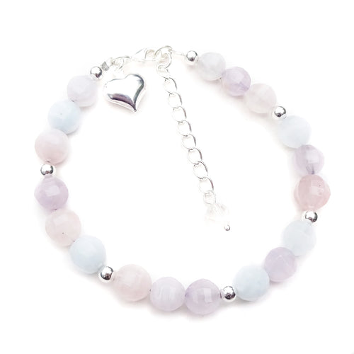 Pink, Purple & Pale Blue Quartz Gemstone Bracelet