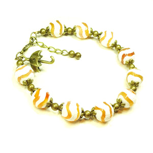 Cream and Orange Agate Gemstone & Antique Brass Bracelet