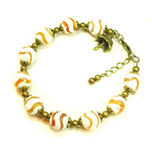 Load image into Gallery viewer, Cream and Orange Agate Gemstone & Antique Brass Bracelet