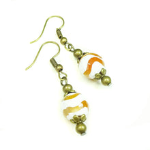 Load image into Gallery viewer, Cream & Orange Agate Gemstone & Antique Brass Drop Earrings