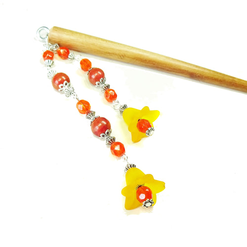 Orange Flower, Coral & Brown Wood Hair Stick
