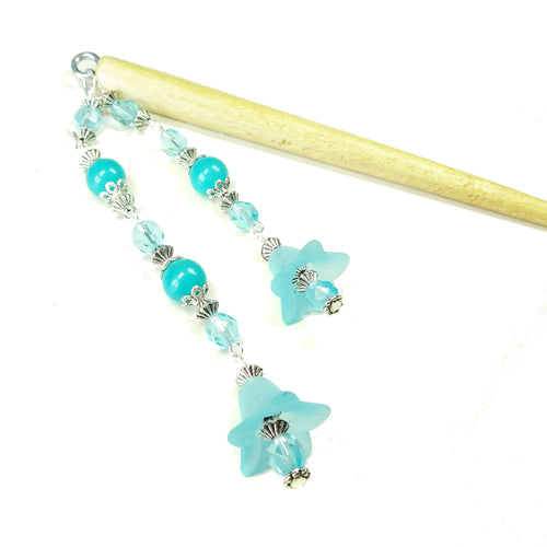 Aqua Blue Flower & Brown Wood Hair Stick