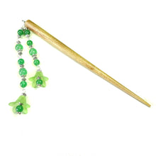 Load image into Gallery viewer, Green Flower & Brown Wood Hair Stick