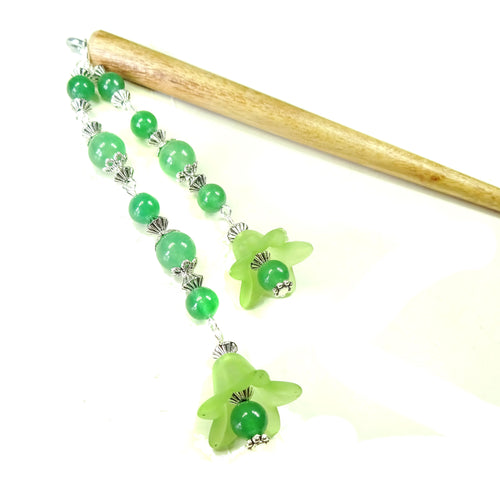 Green Flower & Brown Wood Hair Stick