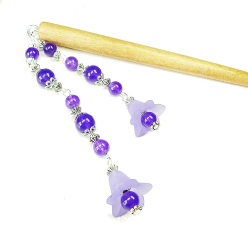 Purple Flower & Brown Wood Hair Stick