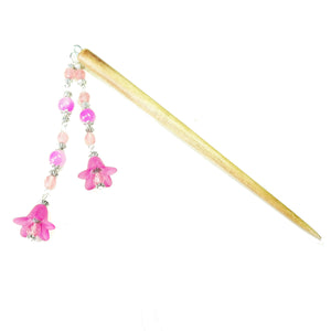 Pink Flower & Brown Wood Hair Stick