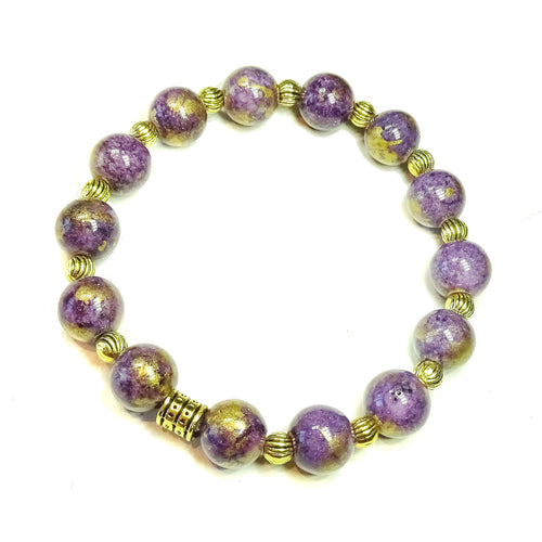 Purple Mountain Jade & Antique Gold Stretch Bracelet - 19.5cm