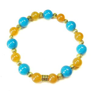 Bright Blue Jade, Orange Aventurine & Antique Gold Stretch Bracelet - 19.5cm