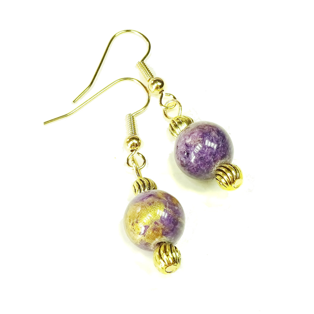Purple Mountain Jade & Antique Gold Drop Earrings
