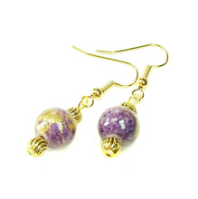 Load image into Gallery viewer, Purple Mountain Jade & Antique Gold Drop Earrings