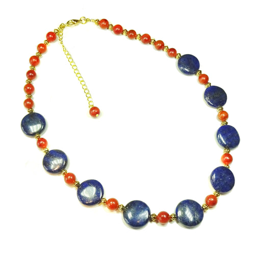 Blue Lapis Lazuli, Red Coral Gemstone & Antique Gold Necklace 19-22 inches