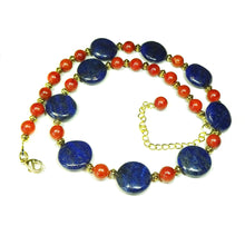 Load image into Gallery viewer, Blue Lapis Lazuli, Red Coral Gemstone & Antique Gold Necklace 19-22 inches