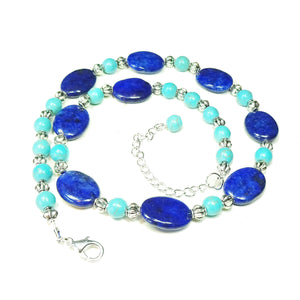 Blue Lapis Lazuli & Turquoise Gemstone Necklace 20-22 inches
