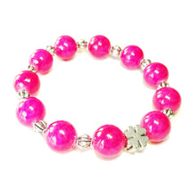 Load image into Gallery viewer, Bright Pink Jade Gemstone Stretch Bracelet - Ap. 20cm