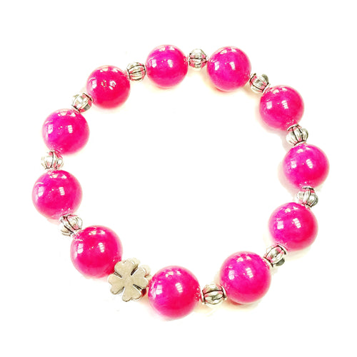 Bright Pink Jade Gemstone Stretch Bracelet - Ap. 20cm