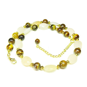 Peach Aventurine, Tiger's Eye Gemstone & Antique Gold Necklace 19-22 inches