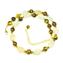 Load image into Gallery viewer, Peach Aventurine, Tiger's Eye Gemstone & Antique Gold Necklace 19-22 inches