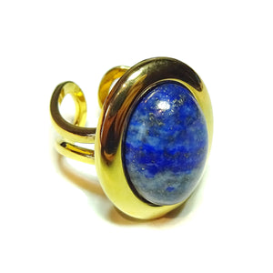 Blue Lapis Lazuli Classic Semi-precious Gemstone Gold Plated Adjustable Ring