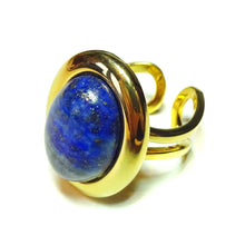 Load image into Gallery viewer, Blue Lapis Lazuli Classic Semi-precious Gemstone Gold Plated Adjustable Ring